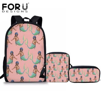 FORUDESIGNS 3Pcs/set Pink Mermaid Printing School Bags for Girls Cute School Backpacks Middle School Students Casual Book Bag
