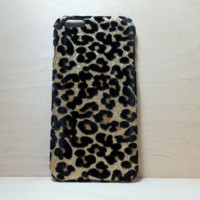 Leopard Felt Glitter Case for iphone 6 Plus (5.5 inches) Gold
