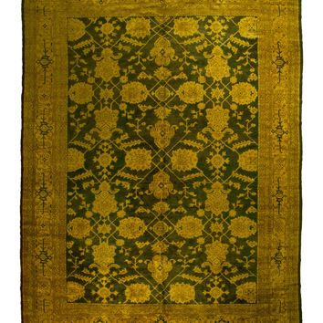 10x13 Overdyed Turkish Oushak Gold Forest Green Ushak Rug 1301