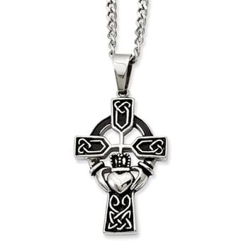 Stainless Steel Antiqued Claddagh Cross Necklace with CZ - 20 Inch