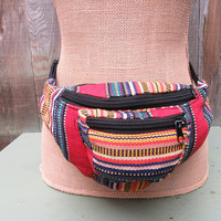 Serape Fanny Pack Mexican Blanket Bum Bag Utility Belt Ethnic Flair Boho Hippie VIntage 80s 1980s