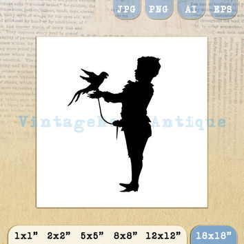 Printable Boy with Bird Silhouette Graphic Image Illustration Digital Download Vintage Clip Art Jpg Png Eps 18x18 HQ 300dpi No.3358