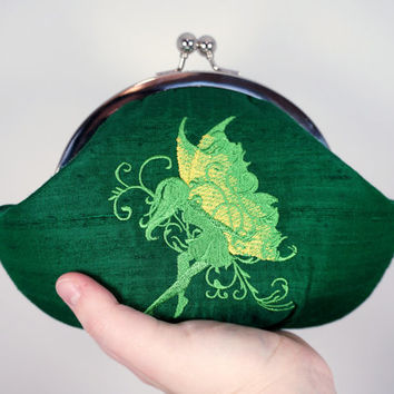 Clover green clutch, embroidered green fairy, framed lace clutch purse wristlet, silk clutch, personalized initials