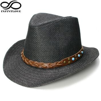 588b5030e7558 INFINITLOVE Men Women Unisex Vintage Sun Protection Turquoise Band Cowboy  Western Hat Casual Travel Gentle Panama
