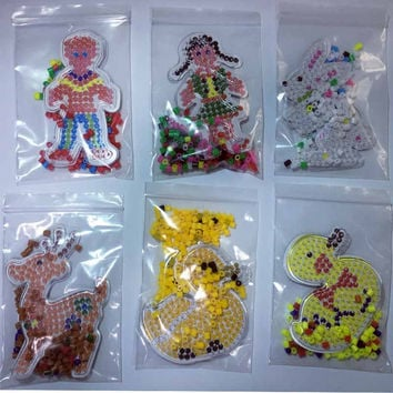 Puzzle Pegboards Patterns with colored paper For 5mm Hama Perler Beads DIY Kids Craft Plastic Stencil child fuse bead Toys