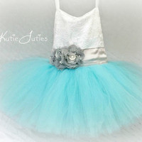 Aqua, Gray, White Lace Sweetheart Tutu Dress- Custom Dress, Flower Girl, Wedding, Pageant, Birthday, Girl, Toddler, Child