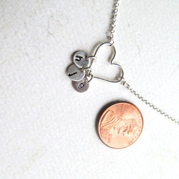 Mothers Necklace,Mommy's HEART,Personalized Necklace,1,2,3 up 8 Children Initials,STERLING,Custom Monogram,Heart,MOM Necklace,Birthday Gifts