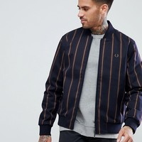 Fred Perry Stripe Bomber In Navy at asos.com