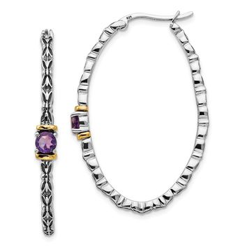 Sterling Silver Two Tone Silver And Gold Plated Sterling Silver w/ Amethyst Hinged Oval Hoop Earrings