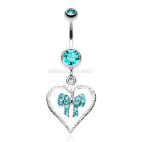 Glam Bow-Tie in Heart Belly Button Ring (Teal)
