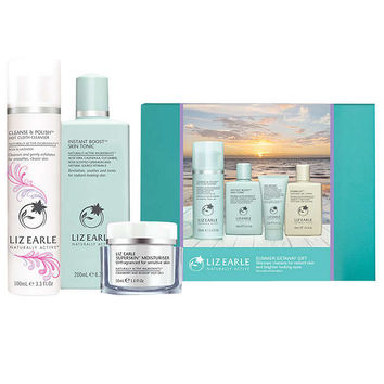 Liz Earle Cleanse & Polish™ Hot Cloth Cleanser Rose & Lavender and Instant Boost™ Skin Tonic and Superskin™ Moisturiser with Free Gift at John Lewis