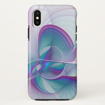 Colorful Modern Pink Blue Turquoise Fractal Art iPhone X Case