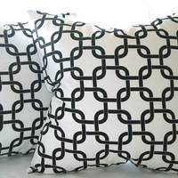 "Contemporary Gotcha Twill  pillow cover- white/black - ""20x20""  pillow cover"