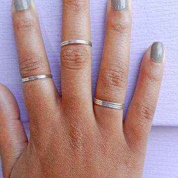 Sterling Silver Thin Rings, Stackable Rings, Knuckle Rings, Midi Rings, Set of 7 Silver Rings, Silver Ring Set, Dainty Ring, Simple Rings