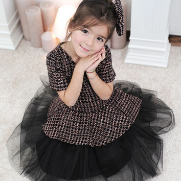 Girls Tulle Dress- Toddler Girl Tulle Dress- Girls Tutut dress- Girls Tweed Dress- Winter Girl dress