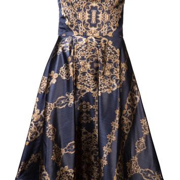 CHRISTIAN SIRIANO gold filigree print dress