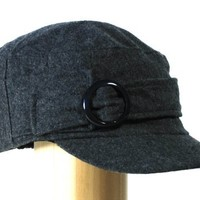 Womens Military cadet hat for women with short visor and a round buckle