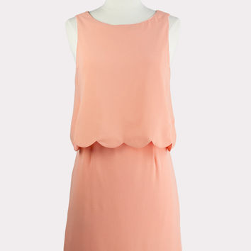 Scalloped Dress in Melon