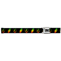 Grateful Dead Men's  Steal Your Face With Lightning Bolt Repeat Black Seatbelt Buckle Belt