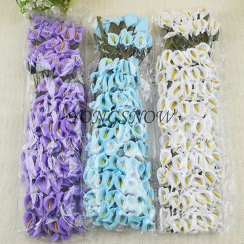 LOT 144 pcs Mini Delicate Calla Lily Artificial Paper Flowers Wedding