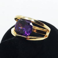 Large Purple Rhinestone Statement Ring SZ 10-3/4 Gold Tone Open Work Vintage Costume Jewelry, Gift for Him