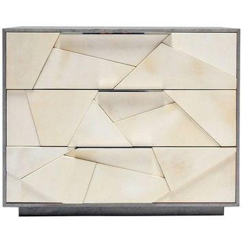 Cubist Nightstand in Silver Birdseye Maple and Parchment with Nickel Pulls