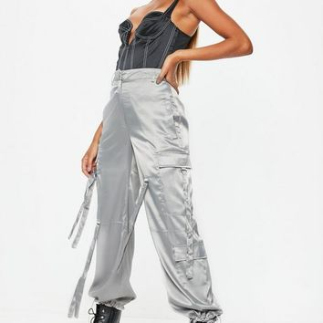 Missguided - Grey Satin Jungle Cargo Pants