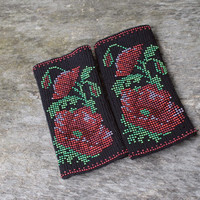 Arm Wrist Warmers Beaded Red Poppies - Unique Handmade Long Beaded Black Wrist Warmers Fingerless Gloves Cuff - Luxurious Cashmere Wool