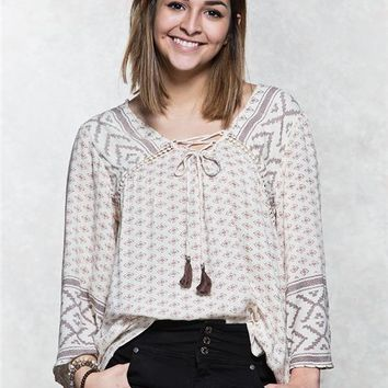 Angie Bell Sleeve Peasant Top