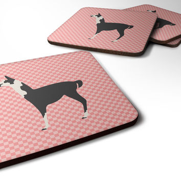 Llama Q' Ara Pink Check Foam Coaster Set of 4 BB7918FC