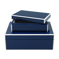 Navy Blue Lacquer S/O 2 Storage Boxes