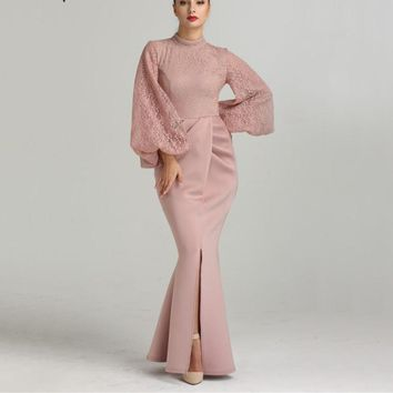 DuBai Mermaid Lantern Sleeve Evening Dresses Long Sleeves Fashion Sexy Evening Gowns LA6411