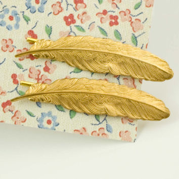 antique brass feather bobby pin set feather barrette hair pin bridesmaid gifts woodland wedding