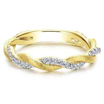 14K Yellow Gold Crossover Woven Diamond Stackable Ring