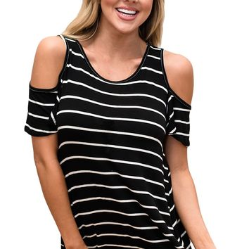 White Black Stripe Cold Shoulder Top