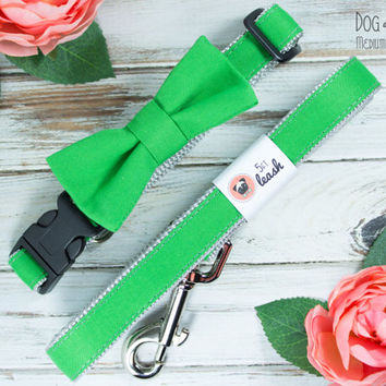 Green Dog Collar with Removable Bow Tie