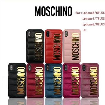 Luxury Moschino Leather Case Cover For Apple iPhone 6S/6plus/7/7Plus/8/8Plus/X