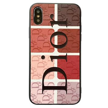 Dior Tide brand color matching letter printed soft shell iPhone XS Max mobile phone case cover #2