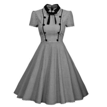 DCCKM83 Women's Elegant Vintage 1940's Short Sleeve Plaid Swing Dress