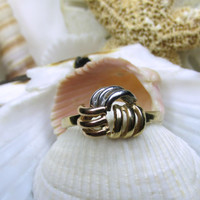 14k Love Knot Ring Tri Color Gold 3D 2.79g Size 9