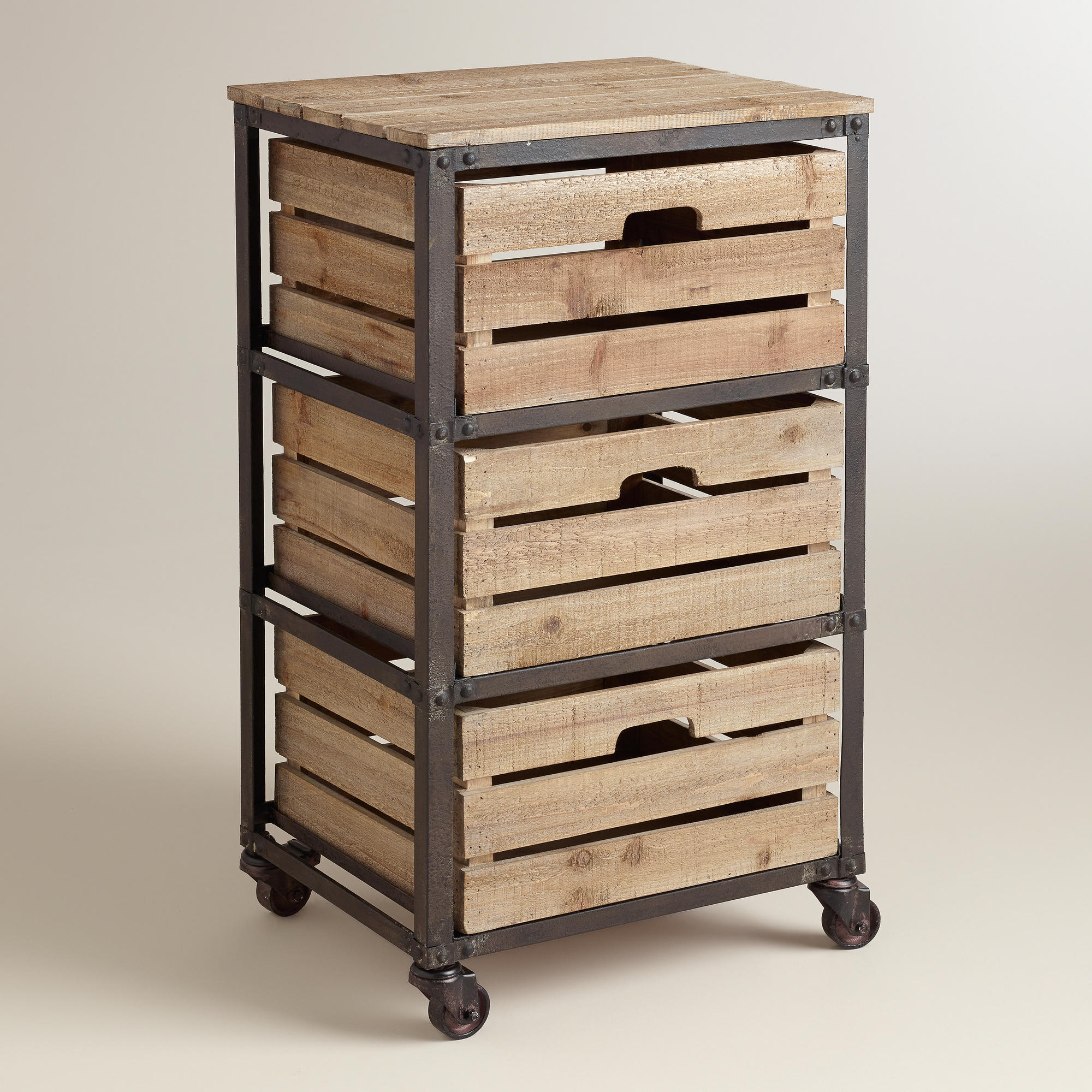 Metal And Wood 3-Drawer Josef Rolling From Cost Plus World