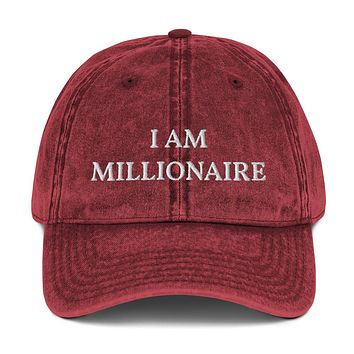 """""""I AM MILLIONAIRE"""" Positive Motivational & Inspiring Quoted Embroidery Vintage Cotton Twill Cap"""