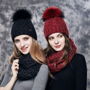 Cashmere Knitted  Women Winter Hat And Scarf Set Beanies Hats