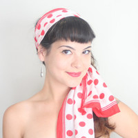 Vintage RED POLKADOT Hair Scarf | Pin Up Girl Style Red and White Long Rectangular Scarf