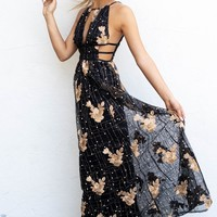 True To You Black Applique Maxi