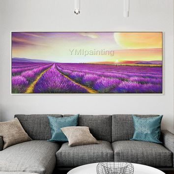 Acrylic Painting on Canvas lavender extra Large Purple the sunset Wall Art Pictures for living room Dinning Hand Painted Original floral Art