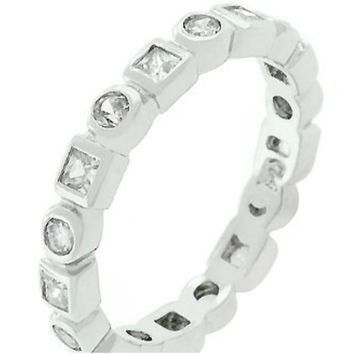 Donata Bezel Eternity Stackable Band Ring  | 3ct | Cubic Zirconia