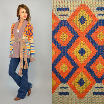 knitted 70's SOUTHWESTERN space dye boho geometric hippie WRAP SWEATER cardigan, small-large
