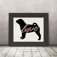 Shar Pei (Shar-pei) Love - Burlap or Canvas / Wall Art Print for Dog Lovers: Great Gift / Personalized (Free Shipping)