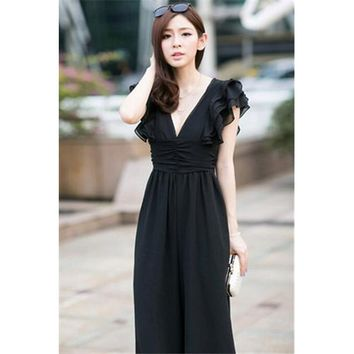 Chic High Waist Deep V-neck Cute Lotus Leaves Sleeves  Halterneck Jumpsuit